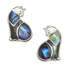 Blue Green Abalone /  Paua Shell Cat Silver Stud Earrings
