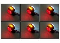 6 X 24V SIDE MARKER LIGHTS INDICATOR LED AMBER RED WHITE TRUCK TRAILER CHASSIS