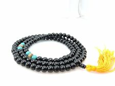 Black Onyx Mala 108 Beads with Om Mani Carved Conch Shell Spacer