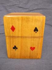 377 / BEAUTIFUL VINTAGE ORNATE WOODEN PLAYING CARD BOX