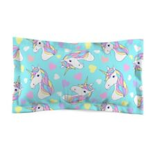 Unicorns and Hearts on Baby Blue Background Microfiber Pillow Sham