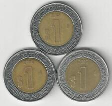 3 DIFFERENT BI-METAL 1 PESO COINS from MEXICO (2005, 2006 & 2007)