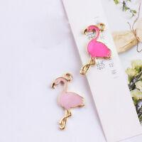 5~10pcs Enamel Flamingos Charms Pendants Necklace Jewelry Findings DIY 30*36mm