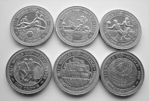 COMPLETE SET OF 1986 MEXICO FOOTBALL WORLD CUP ISLE OF MAN CROWNS - IoM MANX