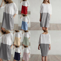 Women Casual O-Neck Patchwork 1/2 Sleeved Cotton Linen Loose Pockets Tunic Dress