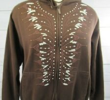 Women's Pearl Studded Full Zip Front  Hoodie Sweatshirt  Size Large - A4212
