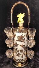 New listing Vintage 1950's Liquor Decanter 6 Shot Glasses And Holder Corby's Stopper