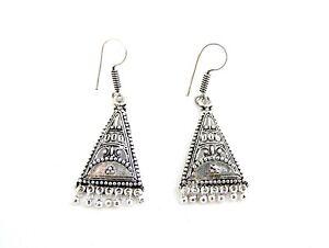 Fair Trade Earrings, Silver Ethnic Bohemian, Made in India