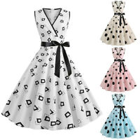 Women Vintage 50s 60s Rockabilly Pinup Swing Dress Eveing Party Cocktail Dresses