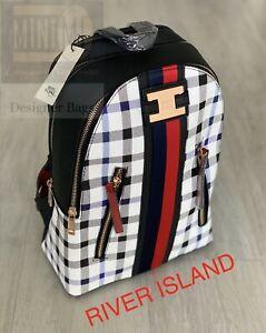 🆕River Island Backpack Bag Black White Monogram Rucksack Brand New With Tags💖
