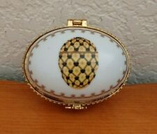 """New listing Romanov Golden Yellow And Black Faberge 3"""" Trinket Hinged Box Porcelain"""