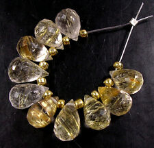 12 NATURAL GOLD RUTILATED QUARTZ FACETED DROP BRIOLETTE BEADS 7 mm R28