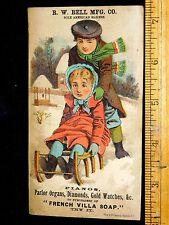 R W Bell Manfg. Co. French Villa Soap Kids Sledding Snow Victorian Trade Card L9