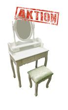 Schminktisch Kosmetiktisch mit Spiegel und Hocker Makeup Table Weiß Modern