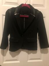 Guess Black Stretch Blazer With Leather Trim Small