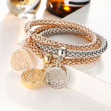 New Fashion Jewelry Three Tone Plated Charm Chain Bracelet For Women's & Girls