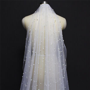 Bridal Wedding Veils Cathedral White Ivory with Comb Pearls Tulle for Bride Long