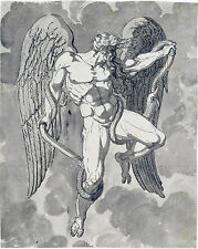Angel Michael Casting Satan Out of Heaven Bible Snake Real Canvas Art Print New