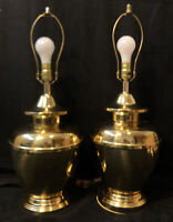 "2 Vintage Asian Brass Urn Table Lamps Set Pair Ginger Jar 26.25"" Large"