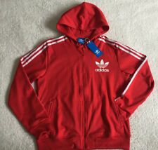 Adidas Red  Trefoil Originals Sport Flock Hoody With Full Zip , Size M