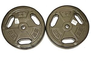 """(2) 25 Pound Standard Plate Weights Rubber Lining Easy Grip 1"""" 50 lbs Total. NEW"""