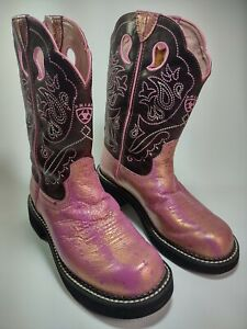 Ariat Ladies Pink Square Toe Boots Size 8 Cowboy Boot Style 16752 Gold Shimmer