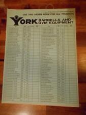 YORK Barbells And Gym Equipment products ORIGINAL Order Form 4 pages