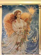 "Tapestry Elegant Wall Hanging Stardust Angel Fiberoptic With Music 26"" X 36"""