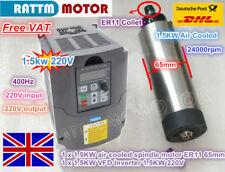 【EU】 1.5KW ER11 Air Cooled Spindle Motor 65mm + 1.5KW VFD Inverter 220V CNC Kit