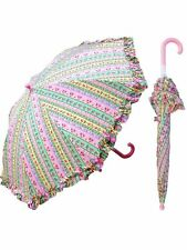 "Rainstoppers Girls Pink Flower Paper Print 32"" Arc Manual Open Umbrella"