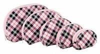5 PIECE PINK TARTAN DESIGN PORTABLE TRAVEL COSMETICS AND MAKEUP STORAGE BAG SET