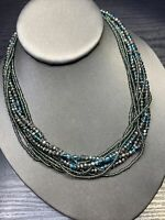 Ladies Vintage Bohemian Signed Aqua Marcasite Color 9 Strand  Necklace Boho 16""