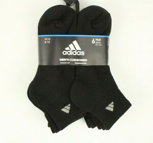 Adidas Men's Compression Socks 6 Pack Aeroready Quarter Cushioned Sz 6-12 Black