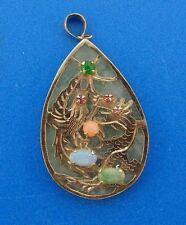 CHIC 14k Yellow Gold, Jade & Gemstone Pendant
