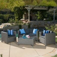 Puerta Grey Outdoor Wicker Sofa Set Patio Furniture Deck Pool Garden All Weather