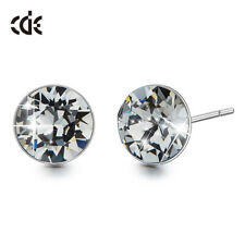 Ear Stud Earring with Swarovski Crystal Gray 750 White Gold 18K Gold Plated New