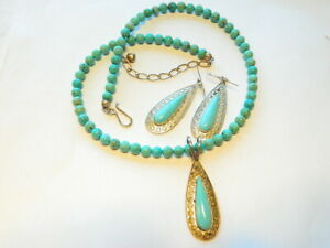 Signed Jay King DTR Sterling 925 Turquoise  Pendant Necklace Earrings