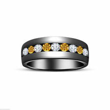 Citrine Wedding Band Sterling Silver Fine Rings