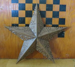 "12"" Metal Barn Star Wall Hanging Decor Ceiling Tin Design Brown Tan"