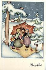 MARIAPIA Buon Natale Bambini Ombrello Kids Xmas PC circa 1940