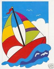 "Sailboat Fun Sewn Applique Nylon Small Banner Flag 12""x18"" Summer Lake Ocean"