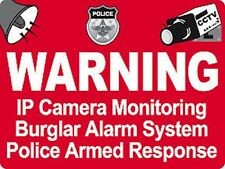 1000 Camera Burglar Alarm Warning Police Armed Response Laminated Cctv Sticker's
