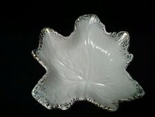 17 Vintage Leaf Shape Candy Dish with Gold Accents ~ USA Pottery #727 ~ EUC