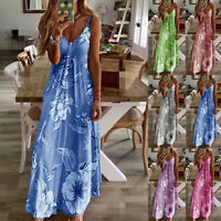 Women's Summer Strappy Holiday Floral Long Boho Kaftan Dresses Beach Maxi Dress