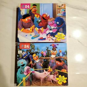 Sesame Street Puzzles - Lot of 2 - Milton Bradley - 24 Piece-All Pieces Included