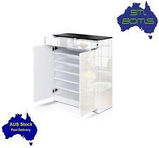 Shoe Rack Storage High Gloss Cabinet 24 Pairs Hallway Top Organiser Black White