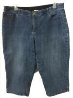CJ Banks jeans capris size 20W blue denim stretch band waist 4 pockets