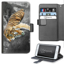 Cat Tiger PU Leather Wallet Phone Case, Side Flip Cover