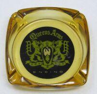 Rare 1960s Queens Arms Restaurant Amber Glass Ashtray Ventura Blvd. Encino CA