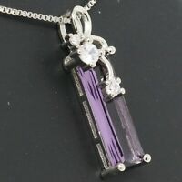 6Ct Baguette Purple Amethyst Pendant Necklace Women Jewelry White Gold Plated